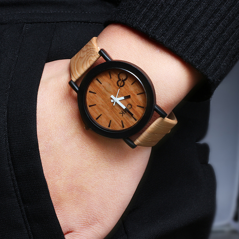 CMK Men Watch Clock Couple Leather-Strap Wooden Imitation Vintage Creative Women Luxury