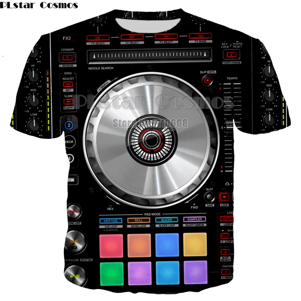 PLstar Cosmos New Fashion Men and Women Music DJ music Printed Funny Polyester T shirt Unisex pullover tee Tops