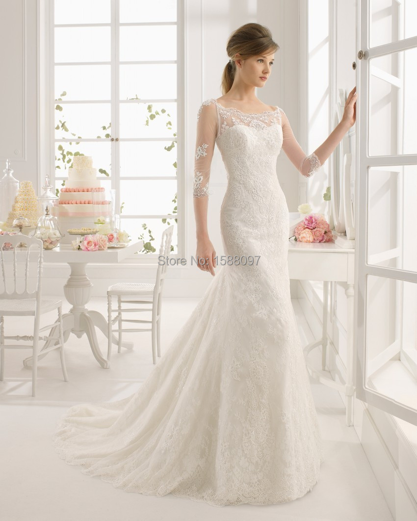 2015 beautiful a line designer wedding dress with sheer for Wedding dresses with half sleeves