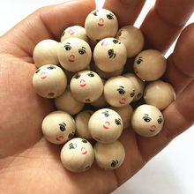 DIY Natural Ball Round Spacer Wooden Beads Eco-Friendly Girl Smiling Face Wood Beads Lead-Free Wooden Balls 14mm 50Pcs/Set NEW(China)
