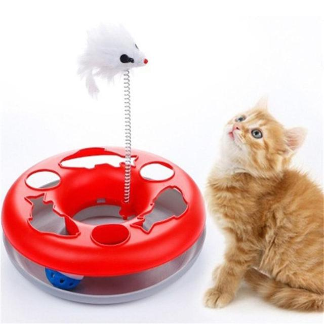 New Multiple Color Cat Toys Spring Mice Crazy Amusement Disk Multifunctional Disk Play Activity Pet Funny Toys