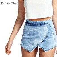 32 42!! 2017 fashion summer women irregular jeans short ,female slim thin shorts high waist jeans girls denim short MH581