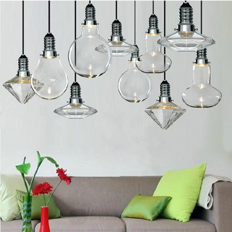 American style creative crystal glass lamp pendant light diamond pendant cafe restaurant bar counter glass pendant lamp FG985 modern luxury glass diamond shape pendant lamp restaurant hotel clubs cafe pub shop exhibition fair shining crystal drop lights