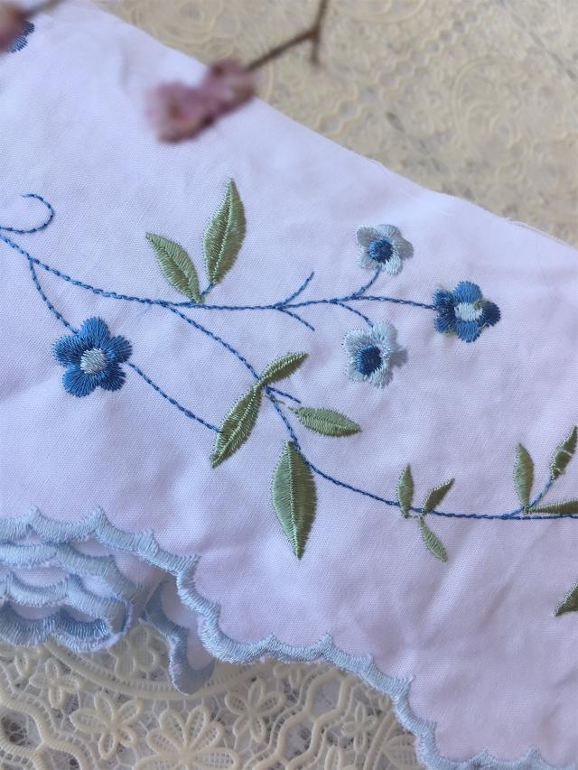 Хлопковая ткань с ручной вышивкой «сделай сам», кружево, синий, маленький свежий цветок с вышивкой в виде ветвей, хлопковое кружево, аксессу...