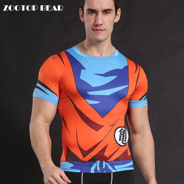 329c4dfdc6 Camiseta Dragon Ball Z Goku Camisetas Anime Traje Cosplay Camisa Topos de  Compressão de Fitness super