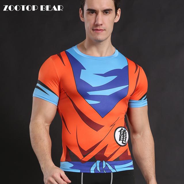 Dragon Ball Z Goku Super Saiyan Anime Compression Costume Fitness Men's T-shirt