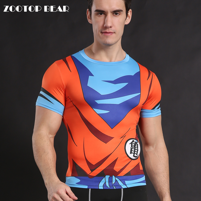 US $7.4 25% OFF|Goku T shirt Dragon Ball Z t shirty koszula Z motywem anime topy cosplay kompresja kostium Fitness saiyan Armor zootop bear|shirt
