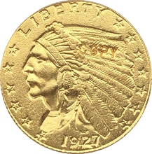 24-K gold plated 1927 $2 5 GOLD Indian Half Eagle Coin Copy Free shipping cheap Copper 1840 Earlier Antique Imitation CASTING people CHINA Gyphongxin COINS