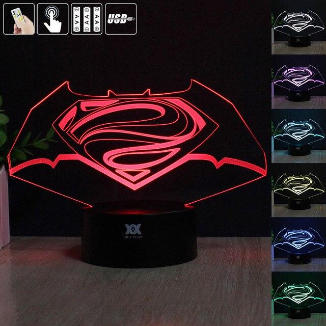 Batman LOGO 3D Night Light RGB Changeable Mood Lamp LED Light DC 5V USB Decorative Table Lamp Get a free remote control Baby Sle