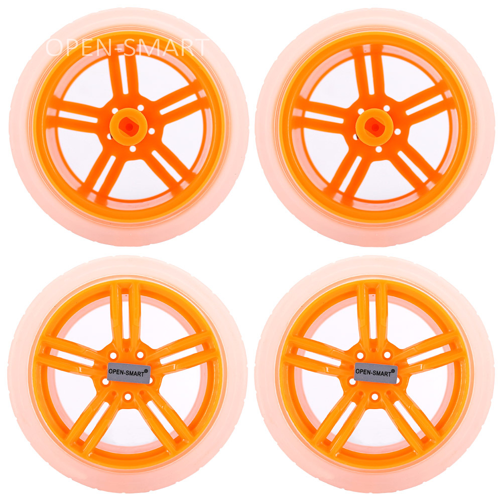 4PCS Transparent Yellow 65 * 27mm Smart Car Model Wearable Rubber Wheel Tightly Fit With The TT Motor For Arduino Smart Car