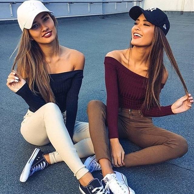 2016 Tumblr New Arrival Europe Station Women Off Shoulder Strapless Sleeved T-shirt Slash Neck T Shirt Antumn Crop Tops Tee