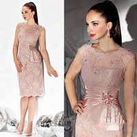 Elegant Cocktail Dresses Sheath Cap Sleeves Knee Length Lace Beaded Crystals Party Homecoming Dresses