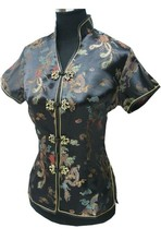 Black Women's Satin Rayon Shirt Tops Short-Sleeve V-Neck Blouse Chinese National Trend Tang Suit Size S M L XL XXL XXXL J001-D