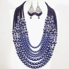 Romantic European blue round shell simulated-pearl abacus crystal 7 rows necklace earrings elegant jewelry set B1302