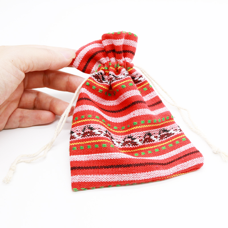 New Arrival Jewelry Cotton Bag 45pcs/lot 10x14cm Drawstring Stripe Design Cotton Bags Christmas Gift Candy Bag Drawable Pouch