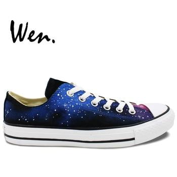 Wen Original Design Custom Hand Painted Shoes Blue Galaxy  Starlight Low Top Men Women's Canvas Sneaker Birthday Gifts