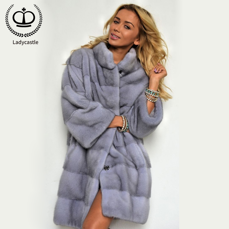 2019 Trendy New Real Fur Coat With Nature Mink Furs Luxurious Wholeskin Mink Coats & Jackets For Women Outer Garment MKW-211 vestidos de inverno zara 2018