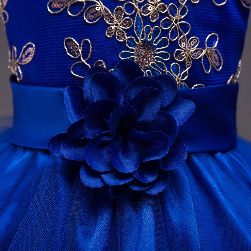 Официальное длинный хвост О-образный воротник, без рукавов Платья для женщин Детское платье с цветами для маленьких девочек партия Лук прин...