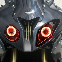 Motorcycl headlamp fit For BMW S1000RR 2009 2014 LED HID White Angel Eye RED Demon Eyes Projector Headlight Assembly Custom