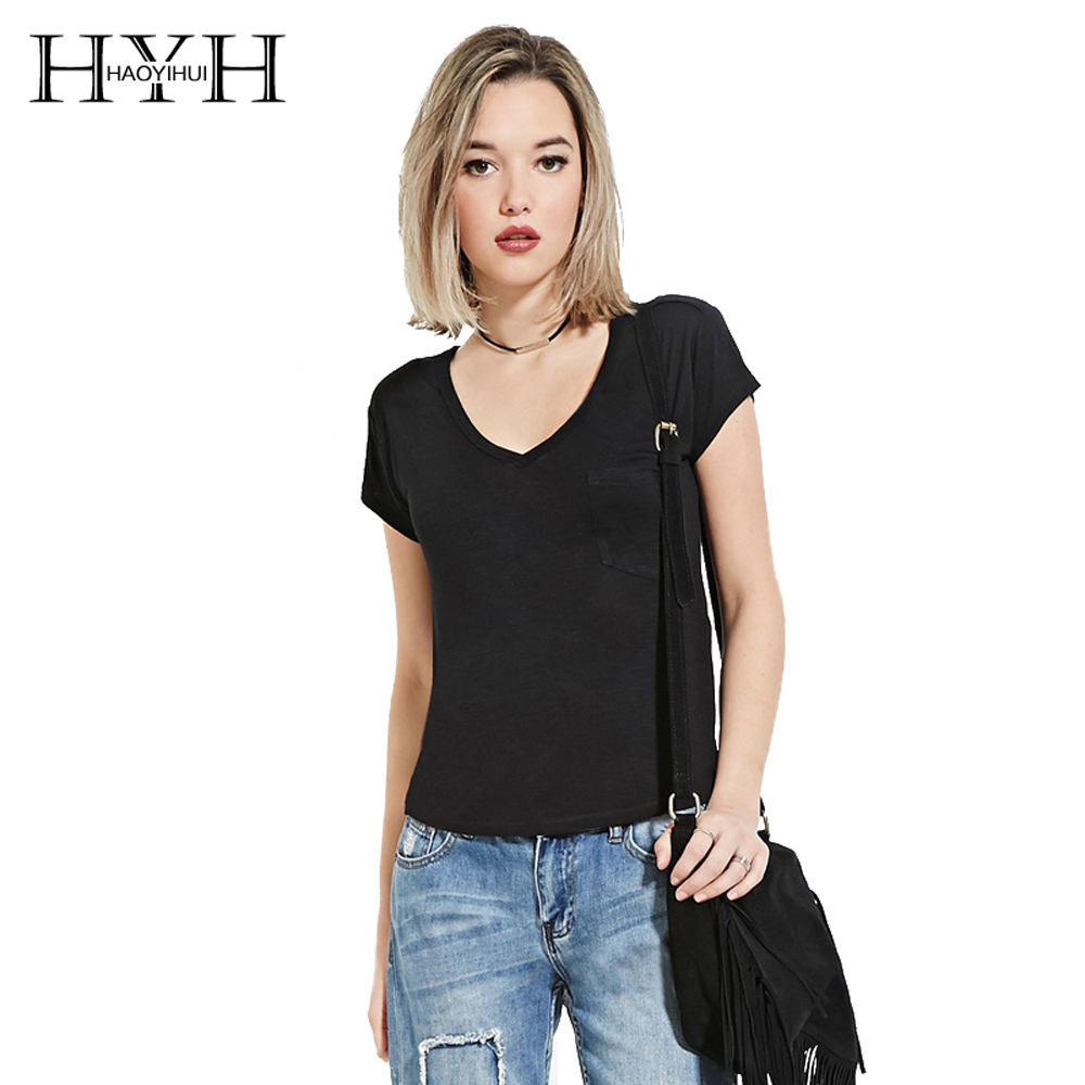 Hyh Haoyihui One Side Pocket Solid Color Slim T Shirt