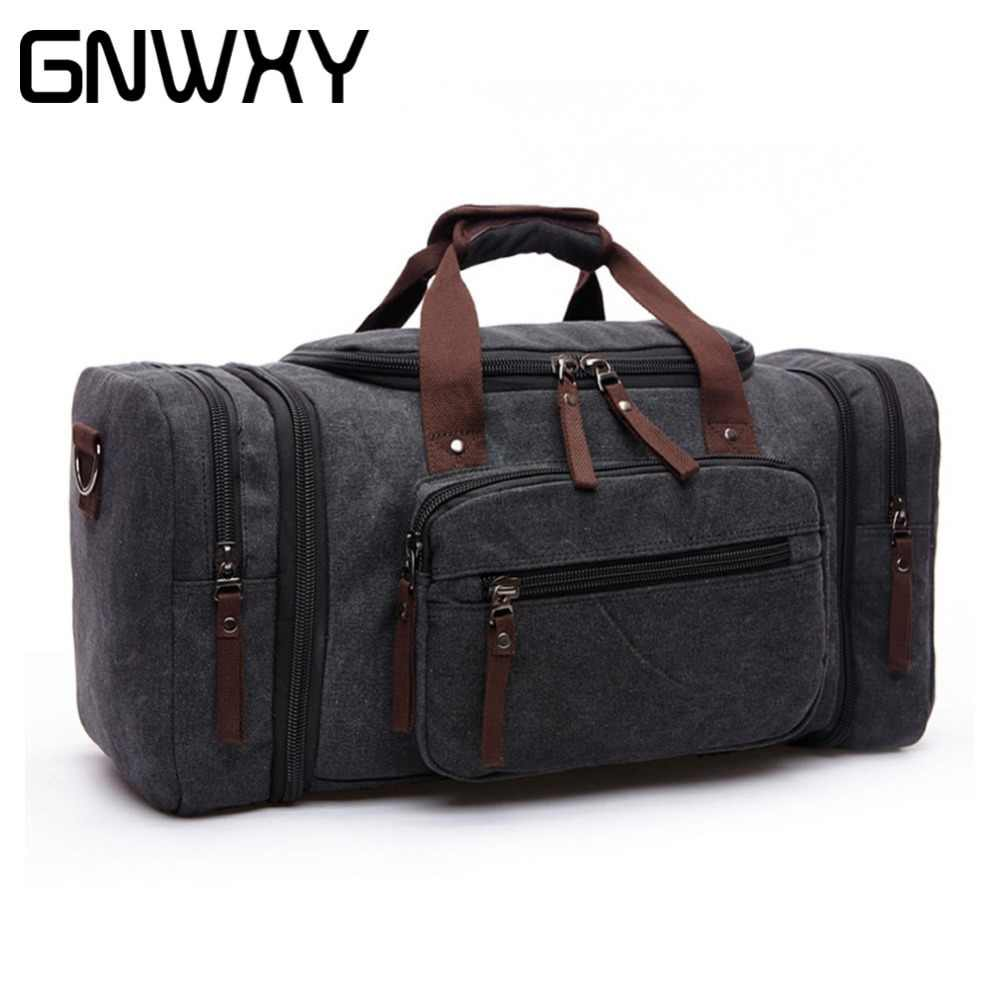 GNWXY Big Capacity Travel Bags For Men Canvas Suitcase Folding Bag  Multi-Function Male Travel c4c638667233f