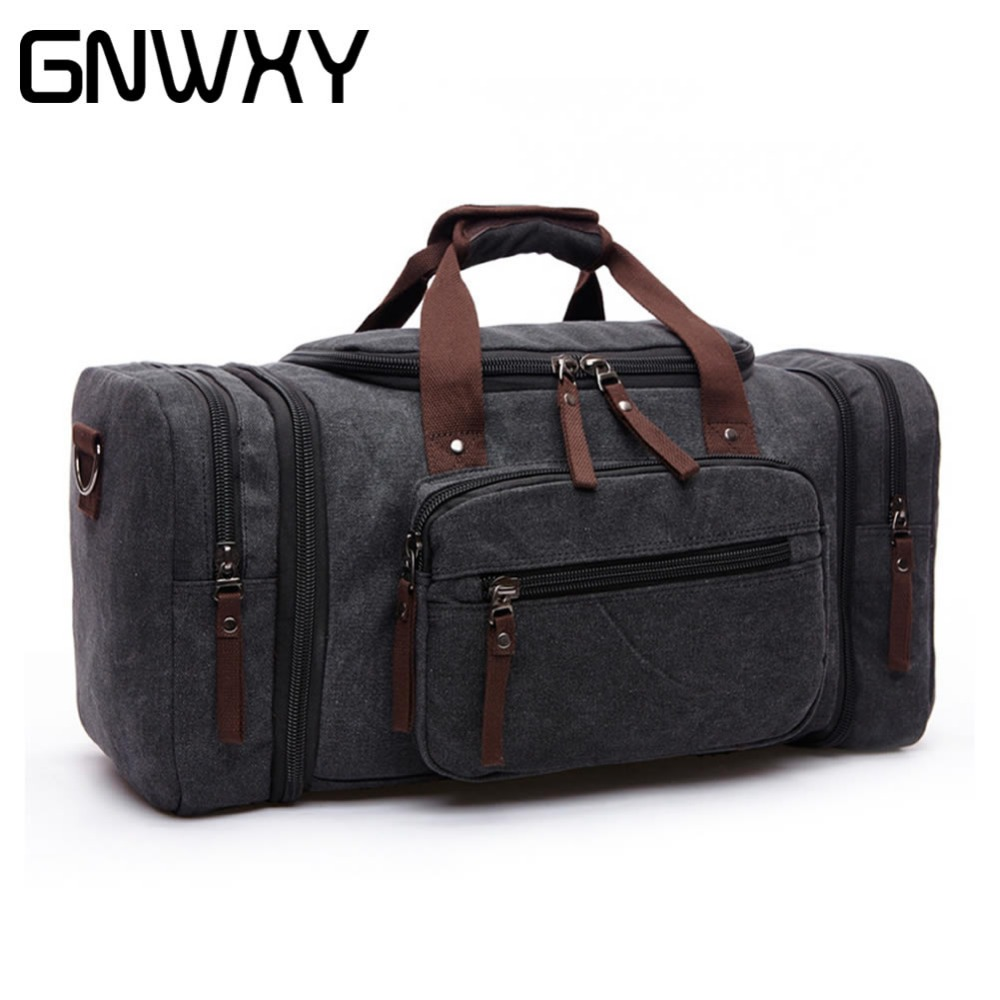 GNWXY Big Capacity Travel Bags For Men Canvas Suitcase Folding Bag Multi-Function Male Travel Weekend Bag Handmade Duffle Bags
