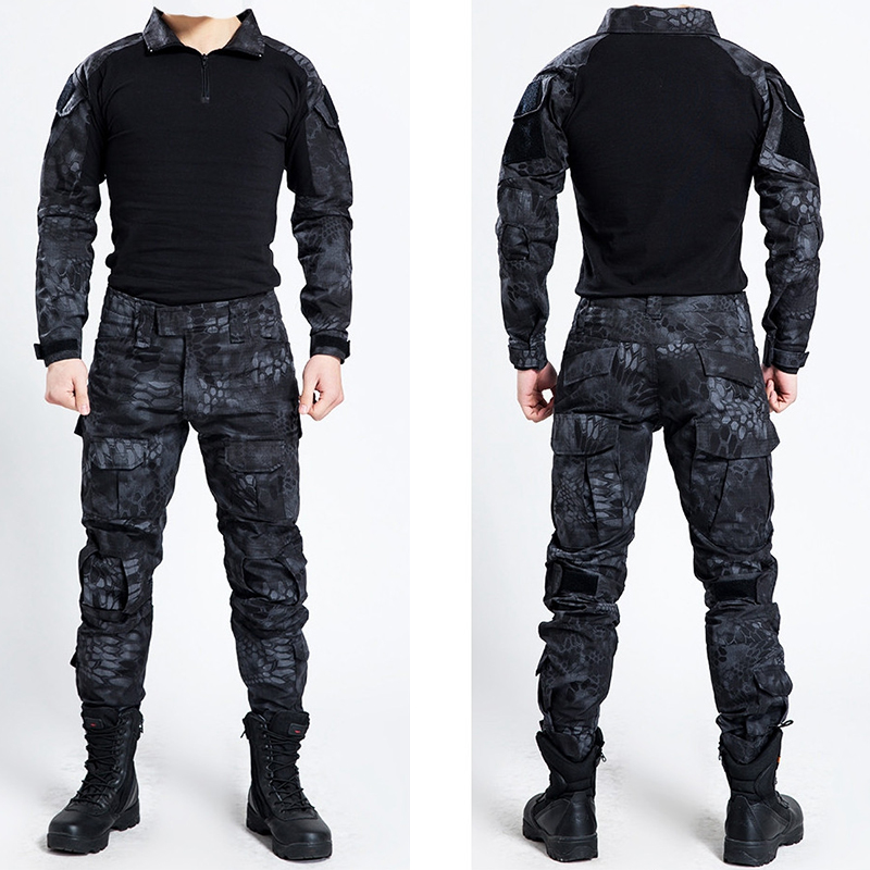 ФОТО Tactical Military Bdu Uniform Clothing Army Tactical Shirt Jacket Pants With Knee Pads Camouflage Hunting Clothes Kryptek Black