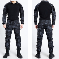 Tactical Military Bdu Uniform Clothing Army Tactical Shirt Jacket Pants With Knee Pads Camouflage Hunting Clothes Kryptek Black