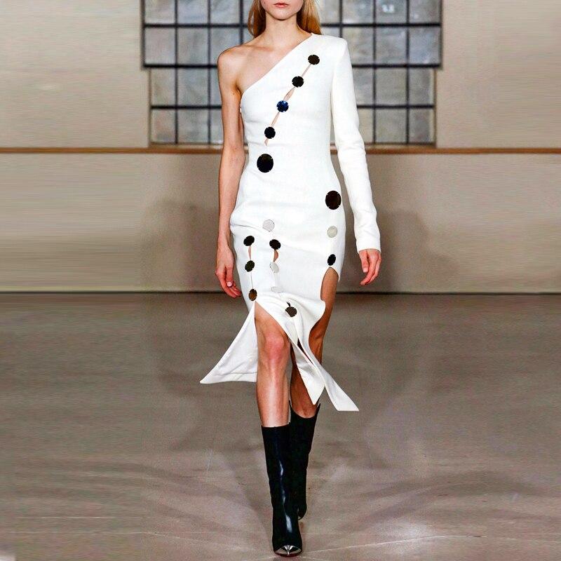 Élégante Robe Au 2018 Longueur Genou Indressme Moulante Parti Une Asymétrique Sexy Cou White Robes Avec Paillettes Femmes Épaule wqS8wPza