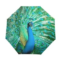 Павлин экзотические Товары для птиц ветрозащитный Anti UV Зонты авто открыть закрыть 3 складной Прочный Компактный Защита от солнца дождь зонт...