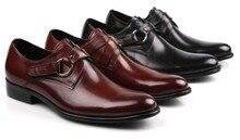 2017 Новый Черный/коричневый загар квартиры мужские туфли из натуральной кожи бизнес обувь мужская свадебные туфли с пряжкой