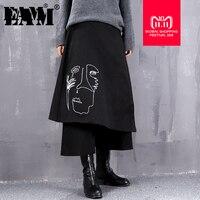 [EAM] 2018 New Autumn Winter High Waist Black Loose Irregular Pattern Printed Loose Wide Leg Pants Women Trousers Fashion JI527