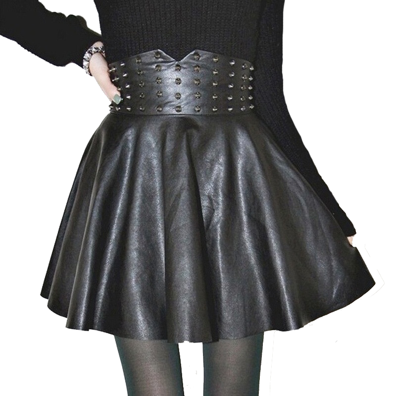 3e04fd7c3c Big Sale] free shipping women office skirt high waist faux leather ...