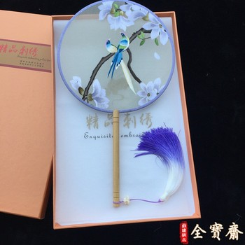 Suzhou embroidery fan double-sided hand embroidery fan suzhou specialty gifts