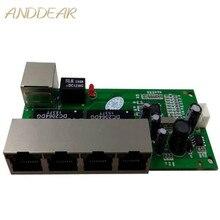 OEM mini interruptor mini porta 5 10 100/100mbps switch de rede 5 12 v ampla tensão de entrada inteligente ethernet rj45 pcb módulo com led embutido