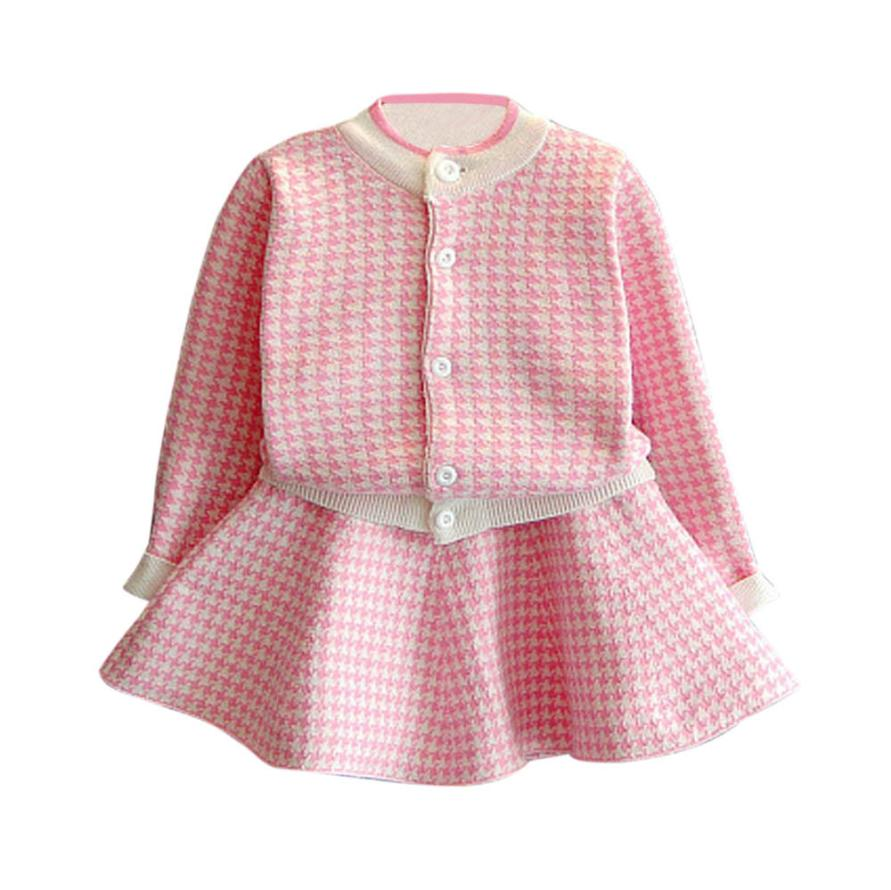 MUQGEW Baby Girl Winter Clothes Outfit Clothes Plaid Knitted Sweater Coat Tops+Skirt Set Cotton long sleeve Bebek QZ06