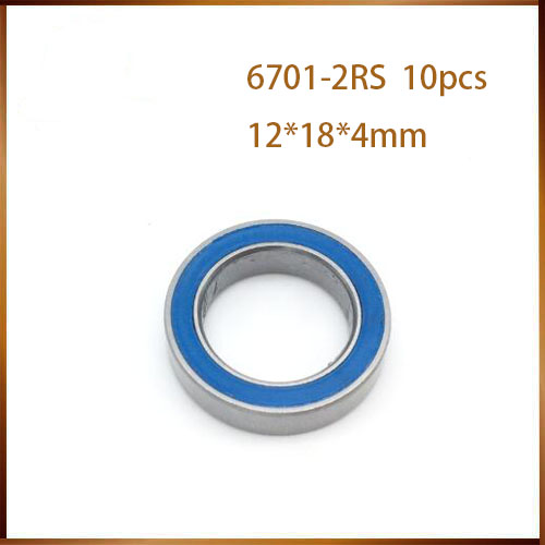 10PCS 6701-2RS <font><b>6701RS</b></font> 12x18x4mm ABEC-3 blue Rubber Sealed presion Ball Bearing CGR15 bearing steel image