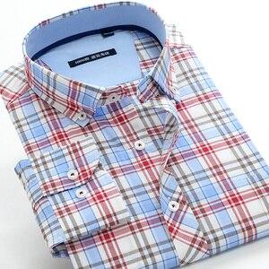 Image 2 - Классическая мужская рубашка в клетку, 5XL, 6XL, 7XL, 8XL, 9XL, 10XL, большие размеры, деловая Повседневная модная хлопковая рубашка с длинными рукавами, Мужская брендовая одежда
