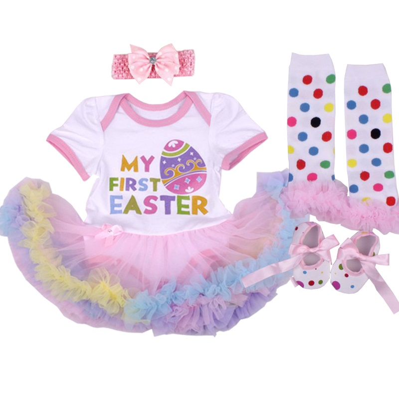 97854dbc5e2e1d Happy Easter Festival Baby Meisje Romper Set Pasgeboren Baby Outfits Peuter  Kant Hoofdband Set Vestidos Bebes