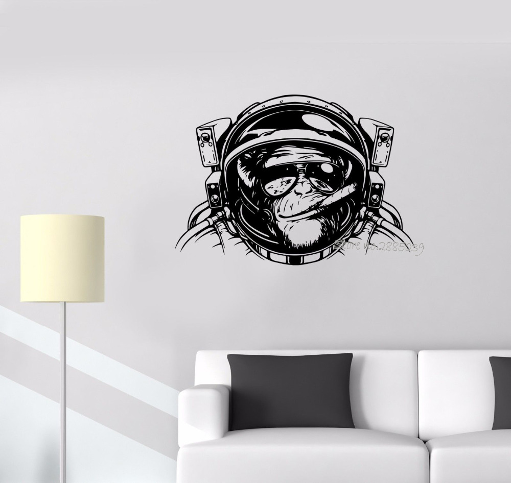 Wall sticker monkey astronaut space helmet diving decor - Removable wall stickers living room ...