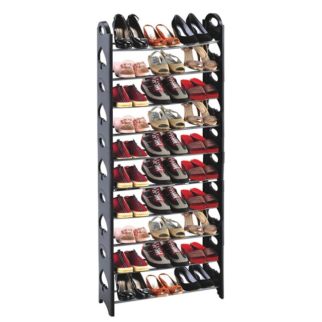 10 Tier 30/50 Pares Torre Redonda En Forma de Zapato De Pie Libre Organizador Ahorro de Espacio de Rack Estante Del Zapato Negro