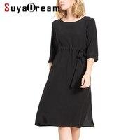 Women Silk Dress Luxury 100 Natural Silk Black Dress 3 4 Sleeved Belted Waist Dresses 2017