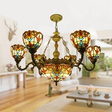 6 simple double leaf living room personality light luxury chandelier Tiffany modern Nordic bedroom light glass decoration