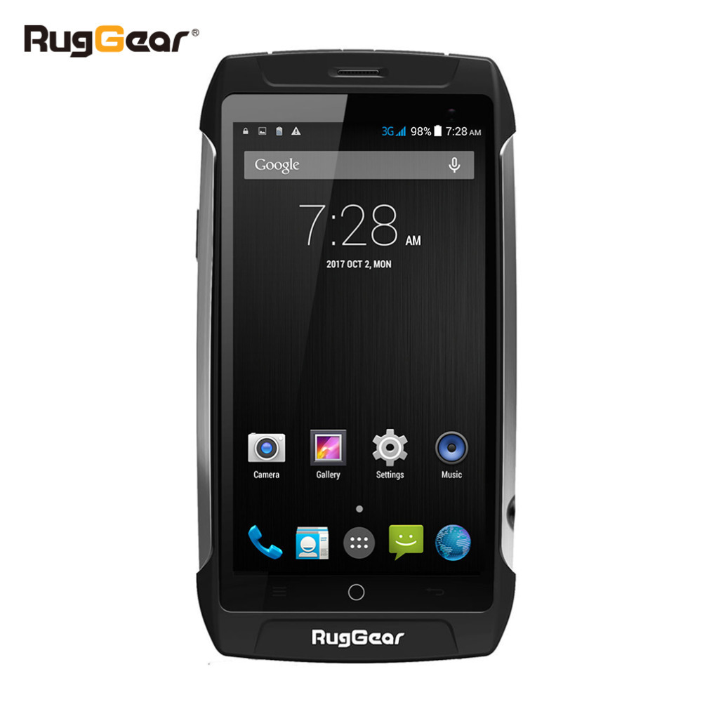 Impermeable teléfono celular RugGear RG710 GRANDTOUR 5,0 inch desbloqueado teléfono inteligente Android 4-core NFC Dual SIM doble cámara 8 GB/1 GB negro