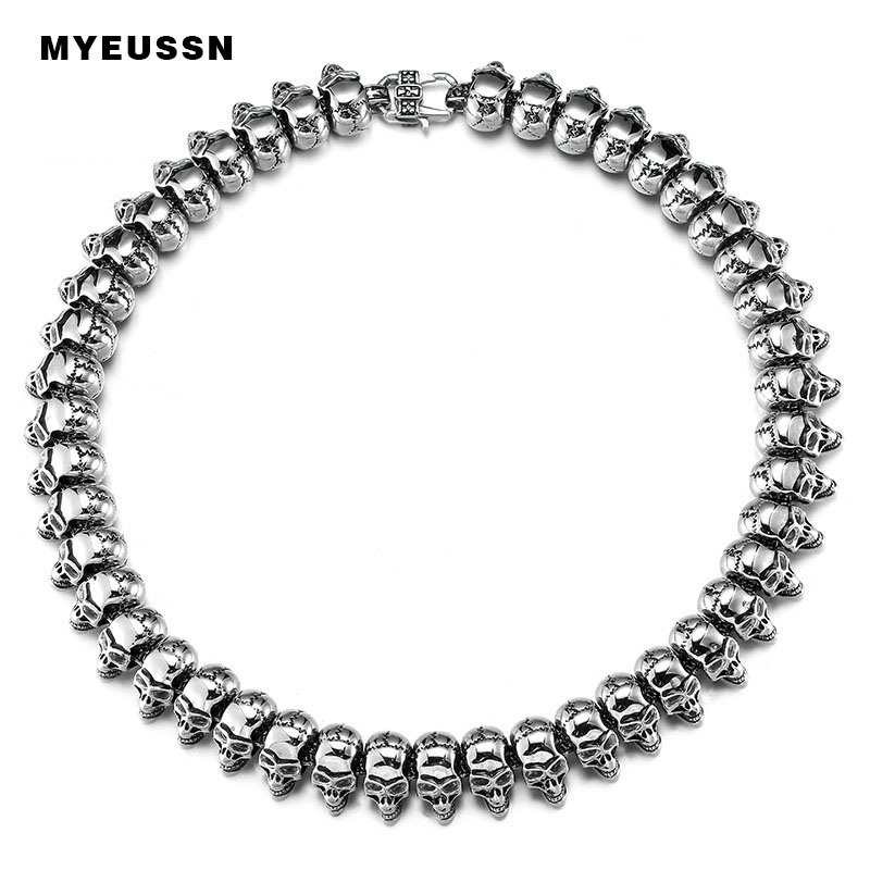 316L Stainless Steel Biker Big Skull Skeleton Heavy pendant neckalce Silver Black Color Fashion Hip Hop