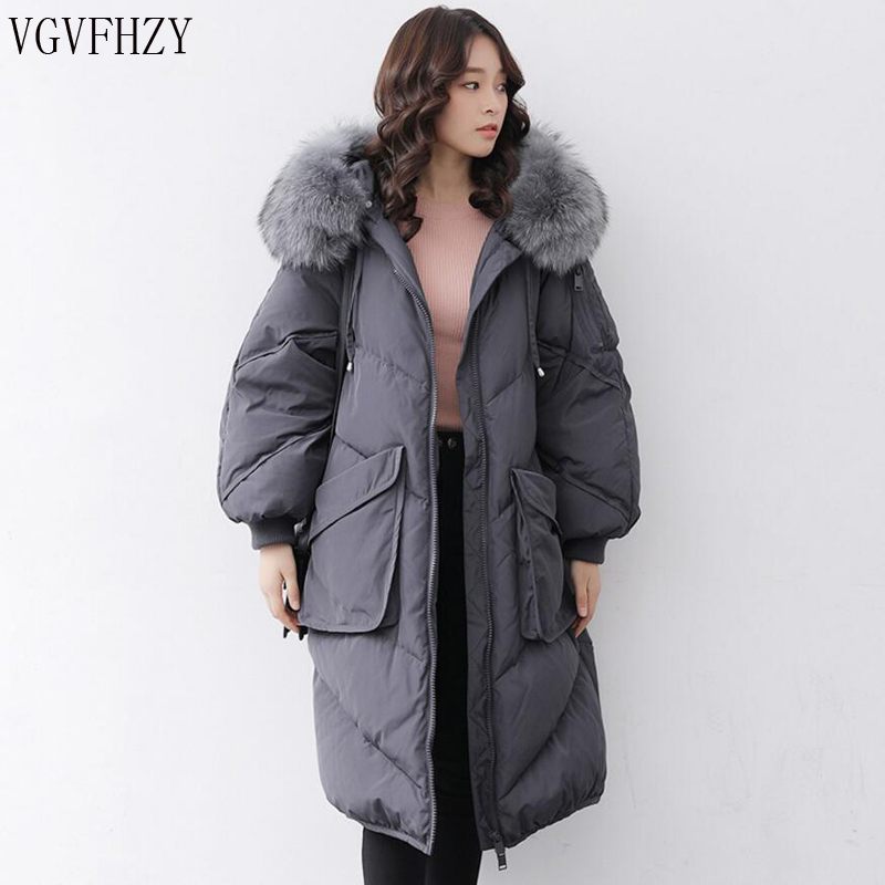 2018 New Long   down     Coats   Winter   Down   Jacket Women Natural Large Racoon Fur Collar Hooded Warm Thick Outwear Female Parka LY1100