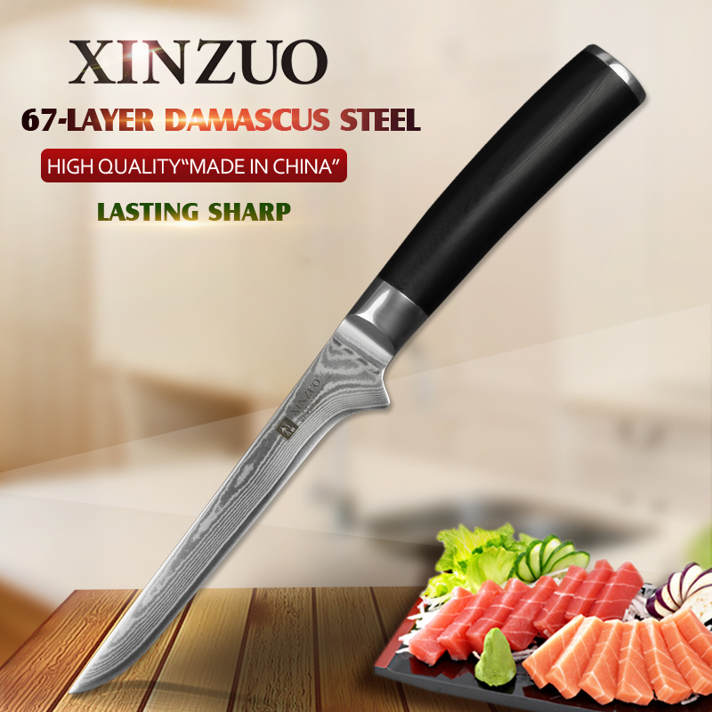 XINZUO 5.5 inch Curved Boning Fishing Knife Chinese 67 Layers Damascus Stainless Steel Kitchen Knives Chef Tool with G10 Handle|chef tools|boning knife|knife chef - title=