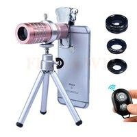 Phone Camera Lenses Kit 12x Zoom TelephotoTelescope Lentes+Fish Eye Wide Angle Macro Lens+Tripod Holder+Bluetooth Control
