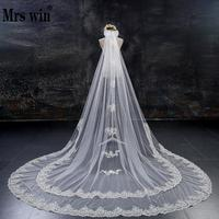 Hotsale Lace Edge 3Meters Two Tiered Long Veil With Comb Bow Crystal Bride Wedding Veils Accesories Fast Shipping C