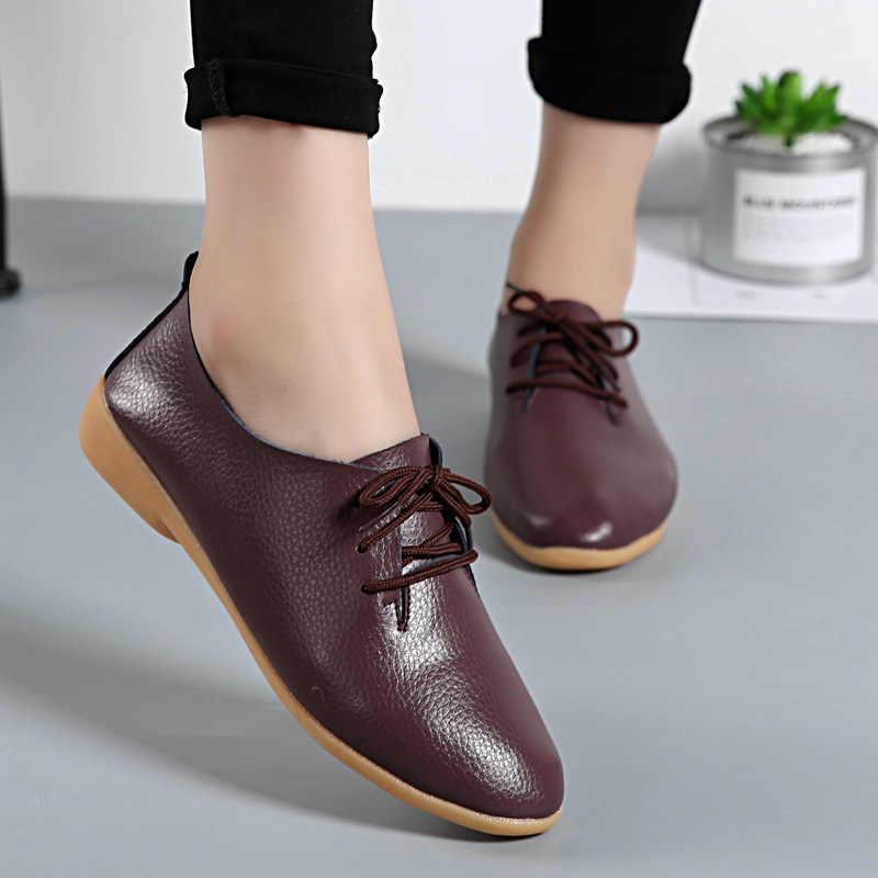 35-44 Flats katı günlük mokasen ayakkabı kadın kadın ayakkabı yuvarlak ayak Lace-Up çalışma beyaz hakiki deri makosenler öğrenci bayanlar ayakkabı